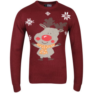 Christmas Branding Rudolf Knitted Jumper - Oxblood Red