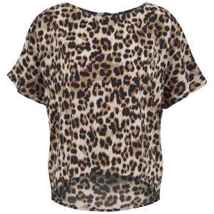 VILA Women's Leolife Leopard Print Top - Oak Brown
