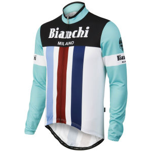 Bianchi Men's Bagheira Long Sleeve Full Zip Jersey - Celeste/White/Red/Blue