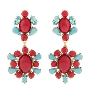 Martine Wester Opulent Statement Drop Earrings - Gold/Blue/Red