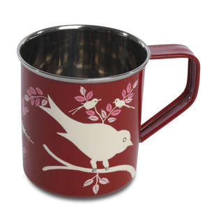 Nkuku Eva Hand Painted Mug - Red - 8cm(Diameter) x 9cm(H)
