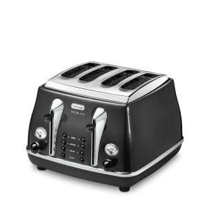 De'Longhi CTOM4003 Icona Micalite 4 Slice Toaster - Black