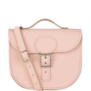 Brit-Stitch Leather Half Pint Shoulder Bag - Chinz Rose (Strap On Side)