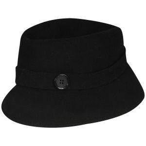 Women's Button Detail Felt Cloche - Black