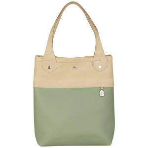 Brit-Stitch Leather Shopper - Warm sand/Oil Green