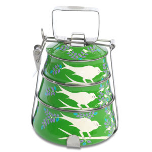 Nkuku Eva Hand Painted Tiffin - Green - 16cm(W) x 23cm(H)