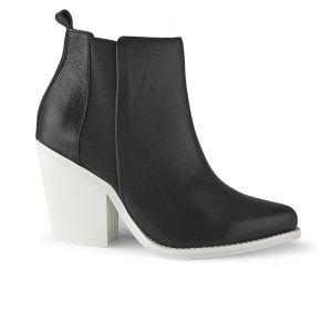 Sol Sana Women's Toni Leather Heeled Ankle Boots - Black/White Sole