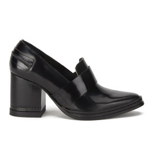 Purified Women's Fey Block Heeled Leather Shoes - Black Highshine
