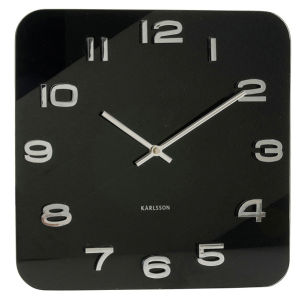 Vintage Glass Wall Clock - Black