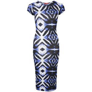 Influence Women's Printed Enlarged Diamond Midi Dress - Blue/White
