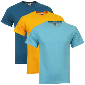 Fruit of the Loom/Jerzees Men's 3 Pack T-Shirts - XXL - Turquoise/Light Turquoise/Sun