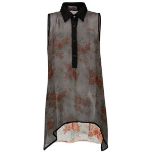 Nova Women's Sleeveless High Low Floral Back Chiffon Shirt - Black