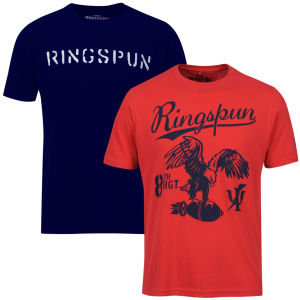 Ringspun Men's Graphic Printed  T-Shirt Two pack Red/Navy Stalker