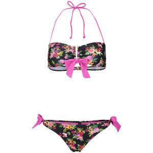 South Beach Women's Multi Rose Print Bandeau Bikini - Multi