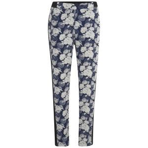 VILA Women's August Floral Trousers - Black Iris