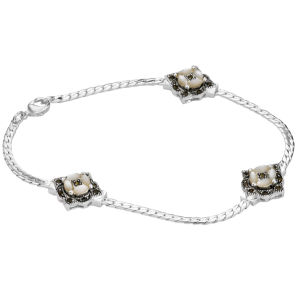 Silver Plated Marcasite and Mother Of Pearl Bracelet