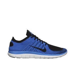 Nike Men's Free 4.0 Flyknit Natural Running Shoes - Blue/Black
