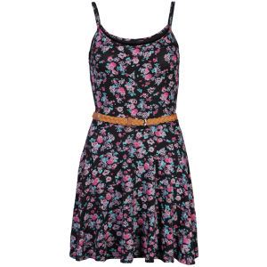 Club L Women's Strappy Ditsy Floral Swing Dress - Black