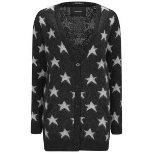 Maison Scotch Women's Stars Fluffy Knit Cardigan - Black