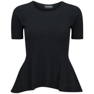 John Smedley Women's Satin Round Neck T-Shirt - Black