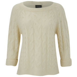 VILA Women's Wind Cable Knitted Jumper - Pristine