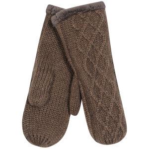 Women's Cable Knit Fingerless Mittens - Mink