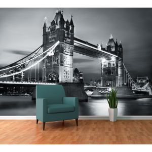 London Tower Bridge bei Nacht, Wandbild, Tapete