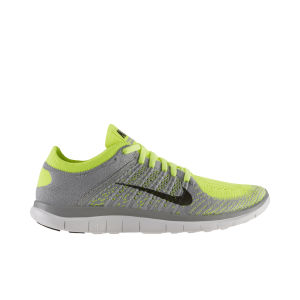 Nike Men's Free 4.0 Flyknit Natural Running Shoes - Wolf Grey/Volt Green