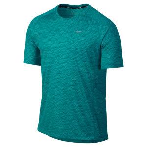 Nike Men's Printed Miler Short Sleeve Running T-Shirt - Turbo Green