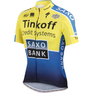 Tinkoff Saxo Team Replica Team Jersey - Yellow/Blue