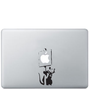 Banksy Rat Holding Sign Macbook Decal