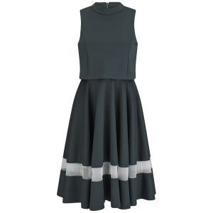 Lavish Alice Women's Split back Midi Dress - Bottle Green