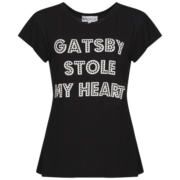 Wildfox Gatsby Stole My Heart Hippie Crew Neck T-Shirt - Clean Black