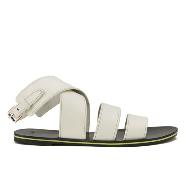 Paul Smith Shoes Women's Poole Leather Flat Sandals - White Servo Lux