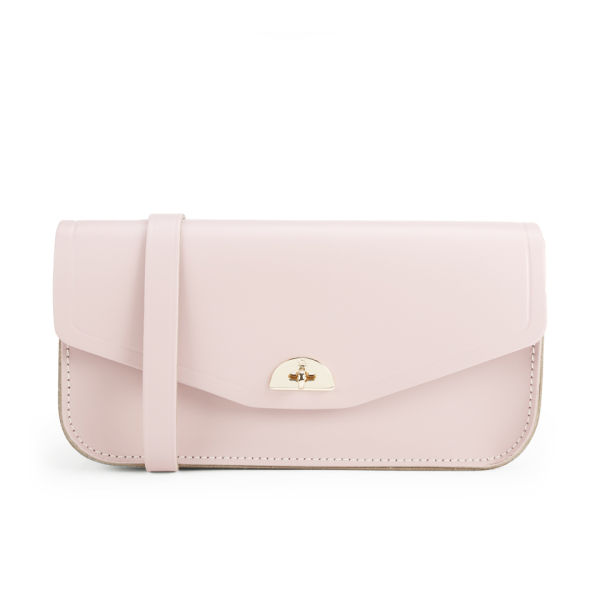 The Cambridge Satchel Company Leather Clutch Bag with Shoulder Strap - Peach Pink