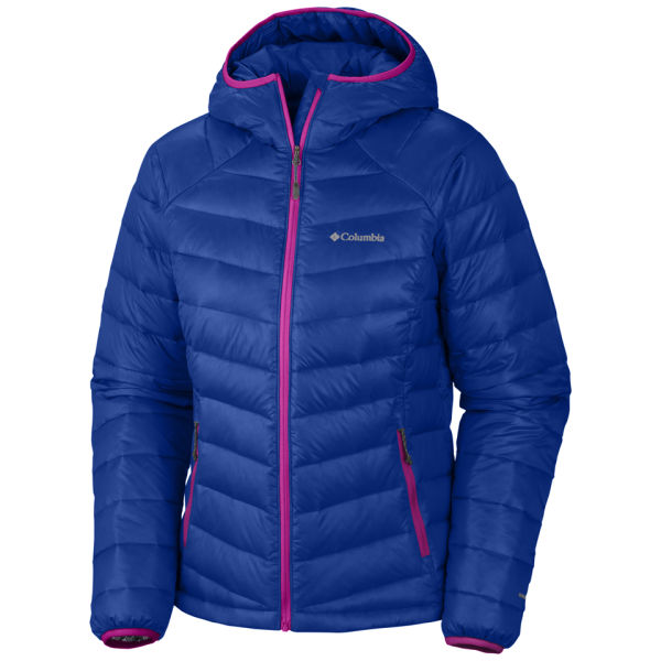 Columbia Womenu0026#39;s Platinum 860 Turbodown Hooded Down Jacket - Blue/Pink Sports U0026 Leisure | TheHut.com