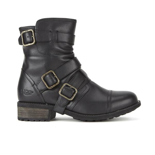 UGG Women's Finney Leather Biker Boots - Black