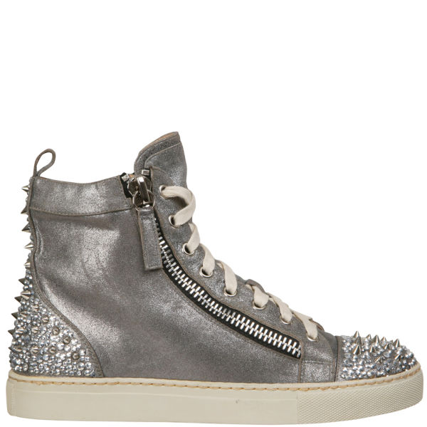 Lola Cruz Women's Metallic High Top Trainers - Silver