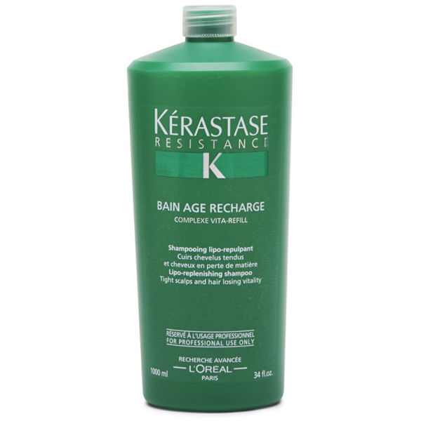 K rastase resistance bain age recharge 1000ml with pump for Kerastase bain miroir shine revealing shampoo