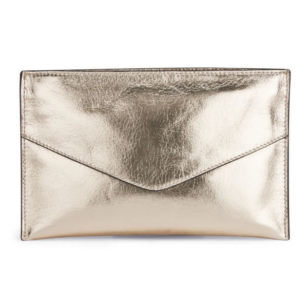 French Connection Nienke Metallic Leather Clutch Bag - Gold  Image 1 e3611d6cdfcb3