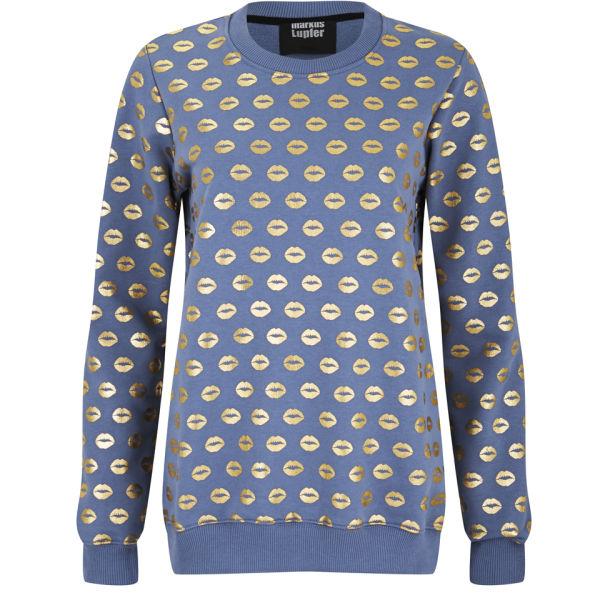 Markus Lupfer Women's Smacker Lip Foil Sweatshirt - Steel Blue/Gold