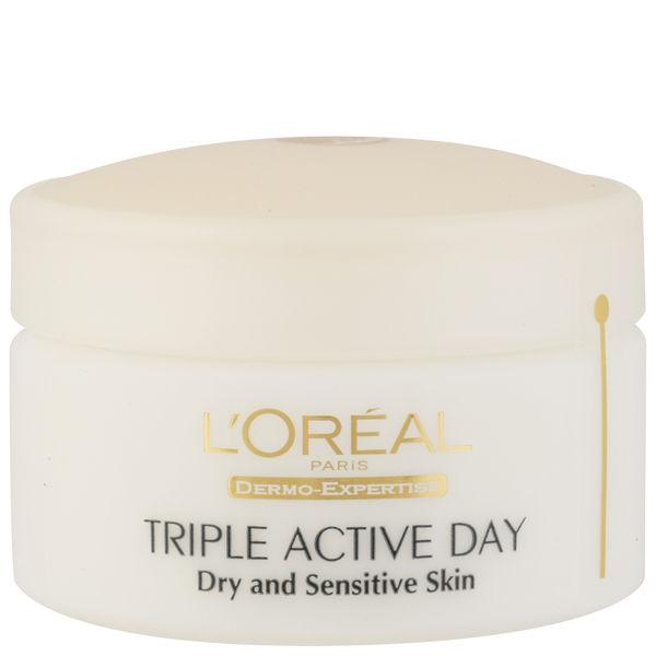 L'Oreal Paris Dermo Expertise Triple Active Day Multi-Protection Moisturiser - Dry / Sensitive Skin (50ml)