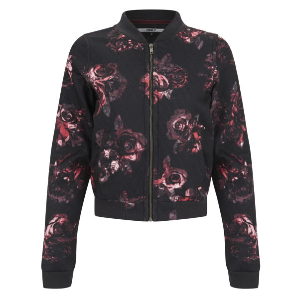 Only Women's Rose Print Bomber Jacket - Black/Pink Womens ...