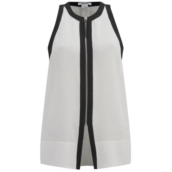 Helmut Lang Women's Tissue Silk Zip-Front Top - Optic White