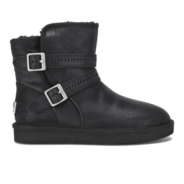 UGG Women's Aiden Waterproof Leather Buckle Boots - Black