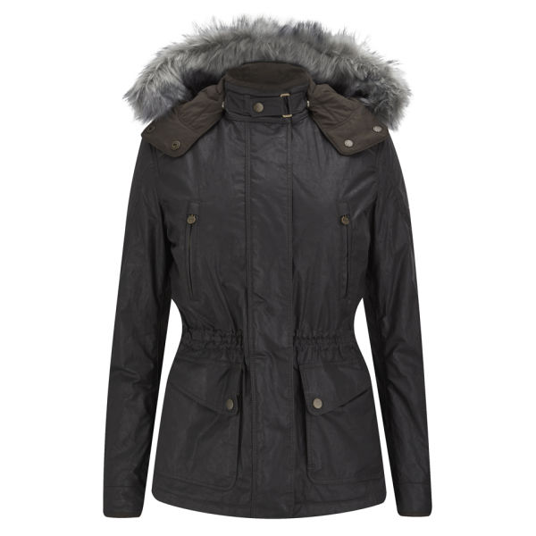 Matchless Women's Notting Hill Hooded Wax Jacket with Coyote Fur - Black