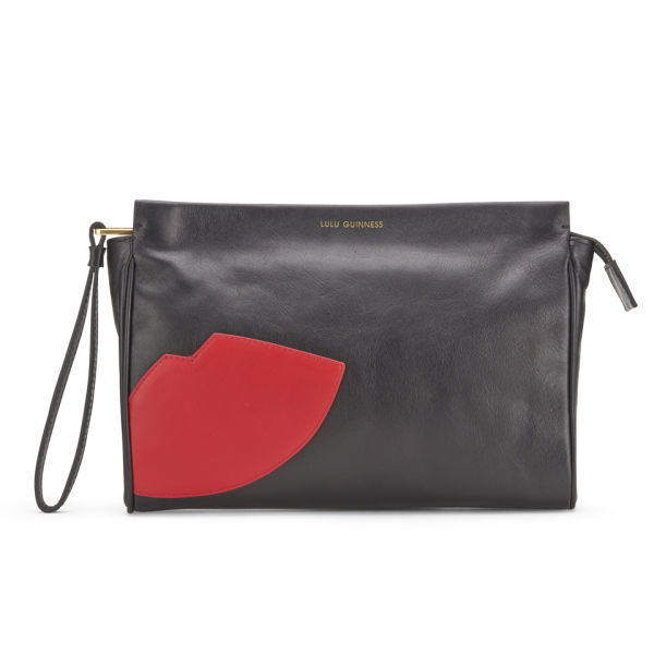 Lulu Guinness Large Abstract Lips Katie Wristlet Leather Clutch Bag - Black