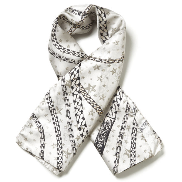 Jimmy Choo Women's Printed Twill Chain Scarf - Light Grey