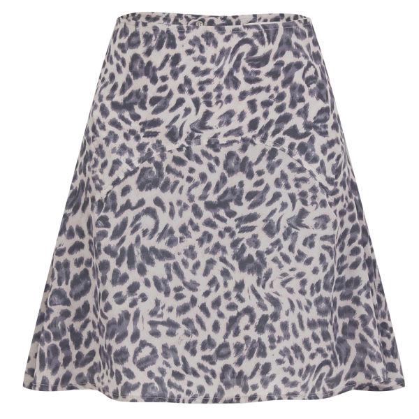 Custommade Women's Roska Leopard Print Skater Skirt - Paloma Grey