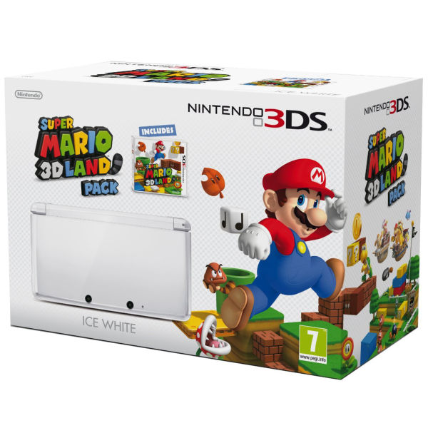 nintendo 3ds console ice white includes super mario 3d. Black Bedroom Furniture Sets. Home Design Ideas